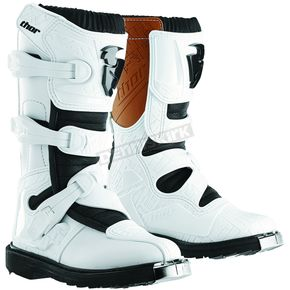 Thor Youth White Blitz CE Boots - 3411-0302