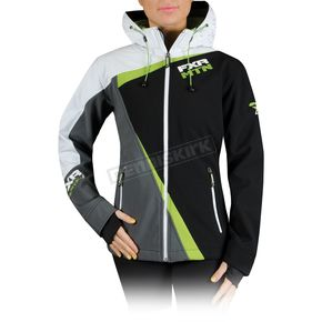 FXR Racing Black/Green Womens Vertical Softshell Hoody - 14243