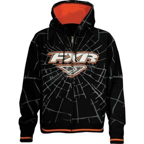FXR Racing Girls Black/Orange Fracture Zip Hoody - 13883.30110