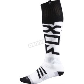 Fox Black/White Thin Coolmax Intake Socks - 08010-018-L
