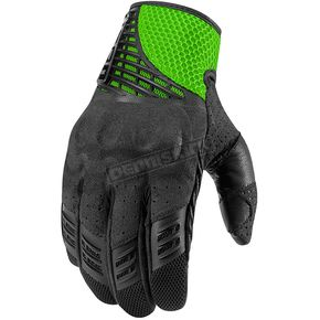 Icon Black/Green Sanctuary Gloves  - 3301-2093