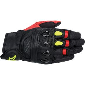 Alpinestars Black/Red/Fluorescent Yellow Celer Leather Gloves  - 3567014-136-S