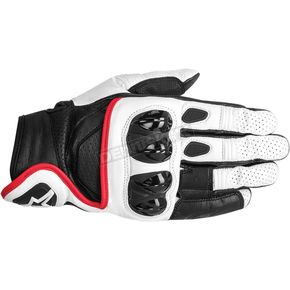 Alpinestars White/Black/Red Celer Leather Gloves  - 3567014-213-2X