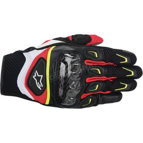 Alpinestars Black/White/Yellow/Red SMX-2 Air Carbon Gloves  - 3567714-1053-3X