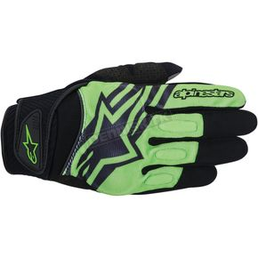 Alpinestars Black/Green Spartan Gloves  - 3574714-16-M