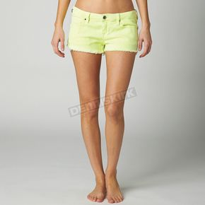 Fox Womens Day Glo Green Outshine Shorts - 08483-272-1