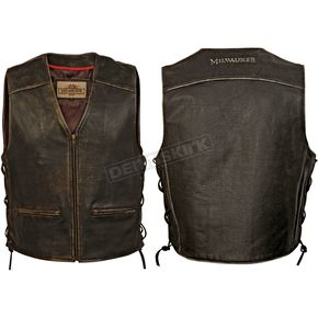 Milwaukee Motorcycle Clothing Co. Vintage Black Distressed Crazy Horse Vest - MV3158XXL