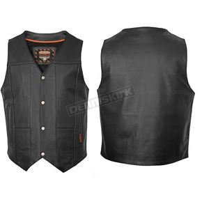 Interstate Leather Black Leather Ten Pocket Vest - I3562XXL