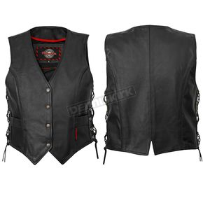 Milwaukee Motorcycle Clothing Co. Womens Black Deuce Vest - M10069S