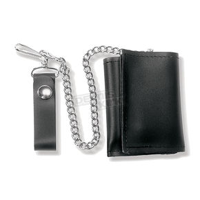 Black Leather Tri-Fold Wallet - 639