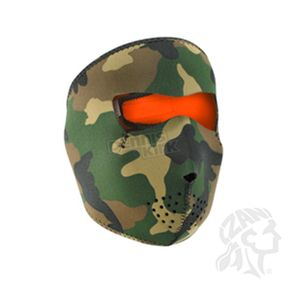Zan Headgear Woodland Camo/High-Vis Orange Reversible Neoprene Full Mask - WNFM118HV