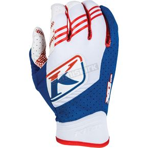 Klim White/Blue/Red XC Gloves - 5002-000-120-200