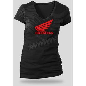 Honda Womens Black Abstract Wings T-Shirt - 54-7268