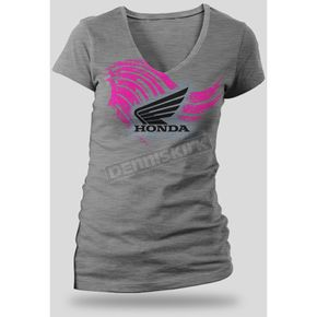 Honda Womens Heather Gray Abstract Wings T-Shirt - 54-7346