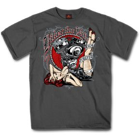 Charcoal Biker for Life Pin Up T-Shirt - GMS1294XL