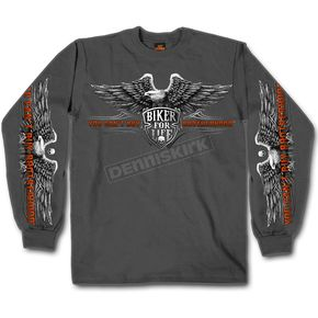 Hot Leathers Charcoal Brotherhood Eagle Long Sleeve T-Shirt - GMS2295M
