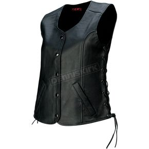 Z1R Womens Black Colt Leather Vest - 2831-0059