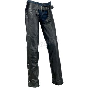 Z1R Womens Black Carbine Leather Chaps - 2815-0086