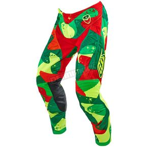 Troy Lee Designs Green/Fluorescent Yellow/Red Cosmic Camo SE Air Pants  - 202012851