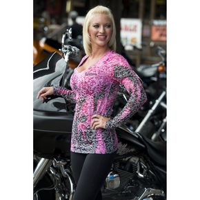 Easyriders Roadware Womens Pink Inferno Burnout Long Sleeve T-Shirt - 3196L