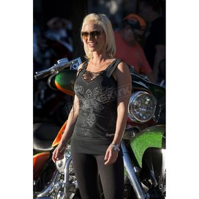 Easyriders Roadware Womens Black Over The Top Bling Tank - 1209L