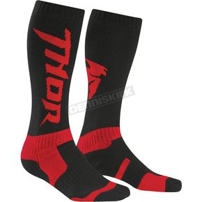 Thor Youth Black/Red MX Socks - 3431-0288