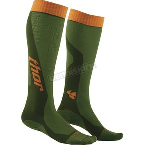 Thor Youth Green/Orange MX Cool Socks - 3431-0292