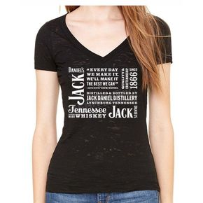 Jack Daniels Womens Black Contemporary Burnout T-Shirt - 15361465JD-89-L