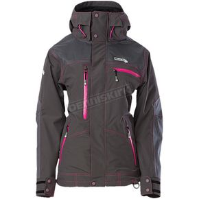 Divas Snowgear Womens Charcoal/Pink Avid Technical Polartec Neoshell Jacket - 97010