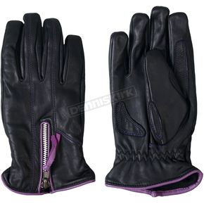Hot Leathers Womens Leather Driving Gloves w/Purple Piping - GVL1008XS