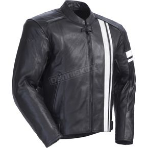 Tour Master Black/White Coaster 3 Leather Jacket - 8721-0309-06