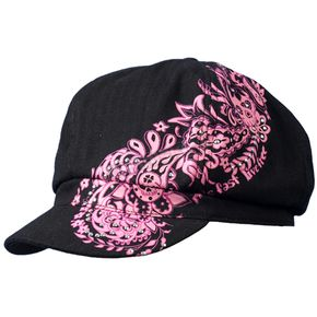 Hot Leathers Womens Black/Pink Ride Fast Live Free Paisley Pie Cap  - BCC1003-LXL