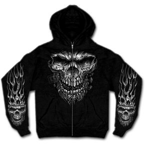 Hot Leathers Black Shredder Skull Zip Hoody - GMZ4237M