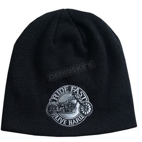 Hot Leathers Black Circle Bike Beanie - KHB1040