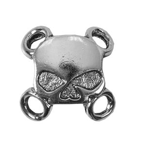 Hot Leathers Silver Half Skull Lace-Up Charms - LAC2005