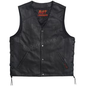 Hot Leathers Black Conceal Carry Leather Vest - VSM1027XL