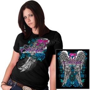 Hot Leathers Womens Black Angel Roses T-Shirt - SPL1279-S