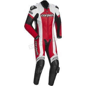 Cortech Red/White Adrenaline RR Leather One-Piece Suit - 8970-0101-05