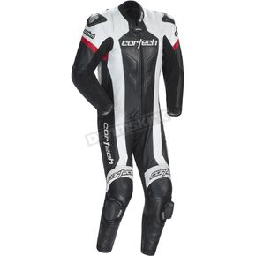 Cortech Black/White Adrenaline RR Leather One-Piece Suit - 8970-0105-08