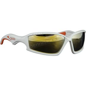 FXR Racing White Recon Sunglasses w/Gold Lens - 14470