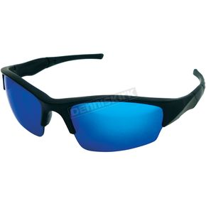 Black Safety C-163 Sunglasses w/Blue RV Lens - C-163BK/BL