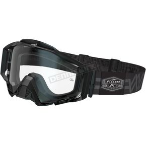 Klim Black/Gray Weave Radius Pro Moto Goggles w/Single Clear Lens - 3059-000-000-000
