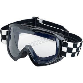 Biltwell Black Checkers Moto Goggle - MG-CHK-WH-BK