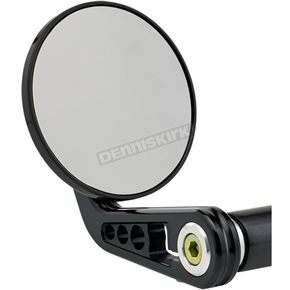 Matte Black Round Bar End Mirror w/ Curved Stem - 09-313-AB