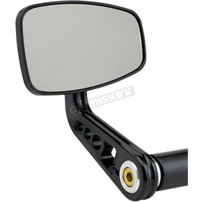 Matte Black Cafe Style Bar End Mirror w/Curved Stem - 09-314-AB
