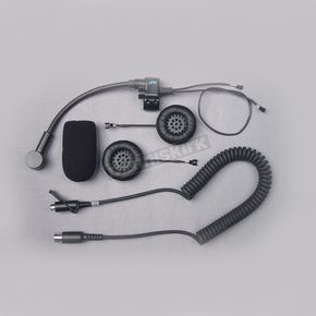 J&M Corporation Open-Face Style Stereo Helmet Headset w/5-Pin Single-Section Cord - HS-8154B-OF