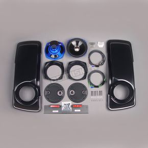 J&M Corporation 7 1/4 in. Harley Saddlebag Lid Speaker Kit w/Lids and Hardware - HSDR-7252GTM-T