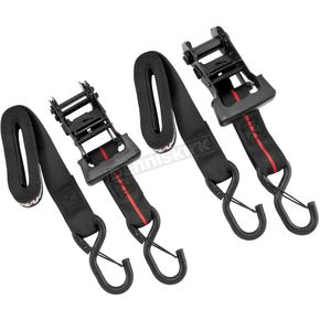 BikeMaster Black/Red 1 1/2 in. Ratchet Tie Downs - 10-0554