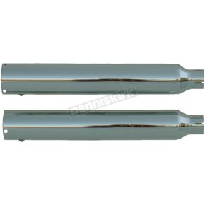 Rush Racing Products Chrome Tip Compatible 3 in. Slip-On Mufflers w/2 in. Baffle - 26405-200