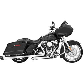 Freedom Performance Chrome Combat Slip-On Mufflers with Black Tips - HD00411